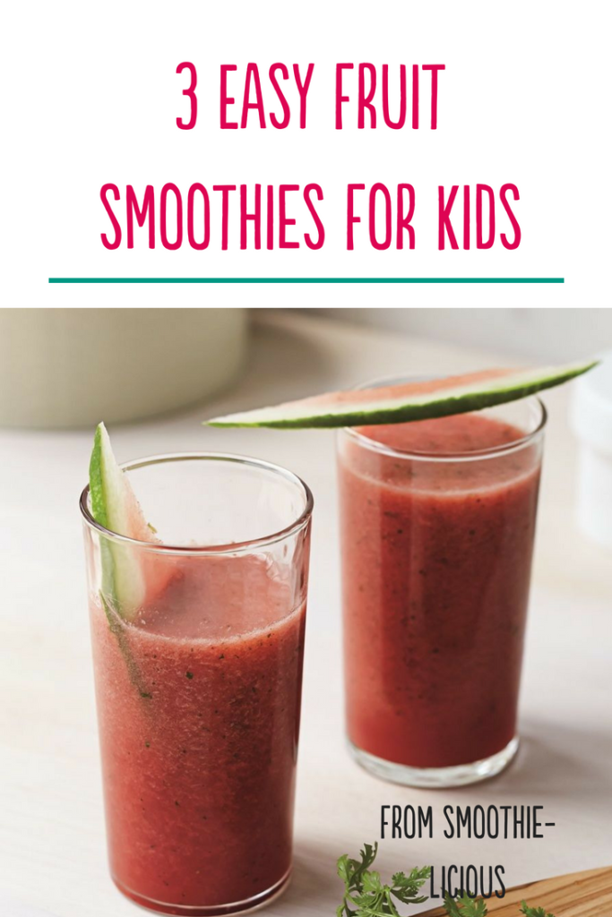 Get easy recipes for three healthy smoothies for kids. #smoothierecipes #smoothiesforkids
