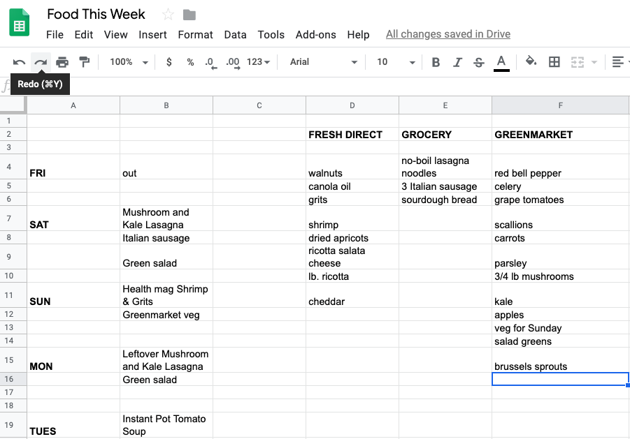 Google sheet with a list of dinner and groceries