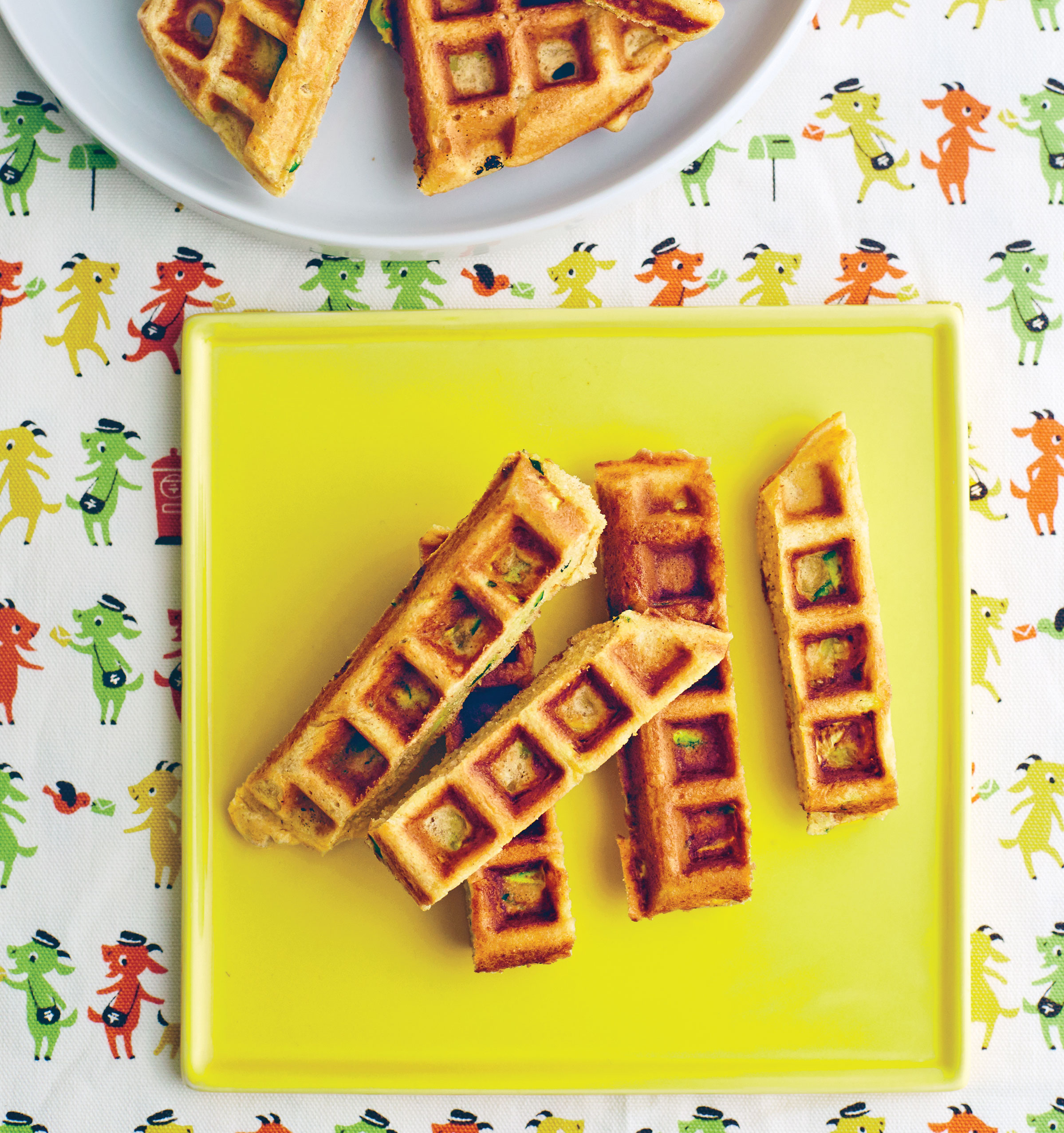 Zucchini Bread Waffles cut into strips