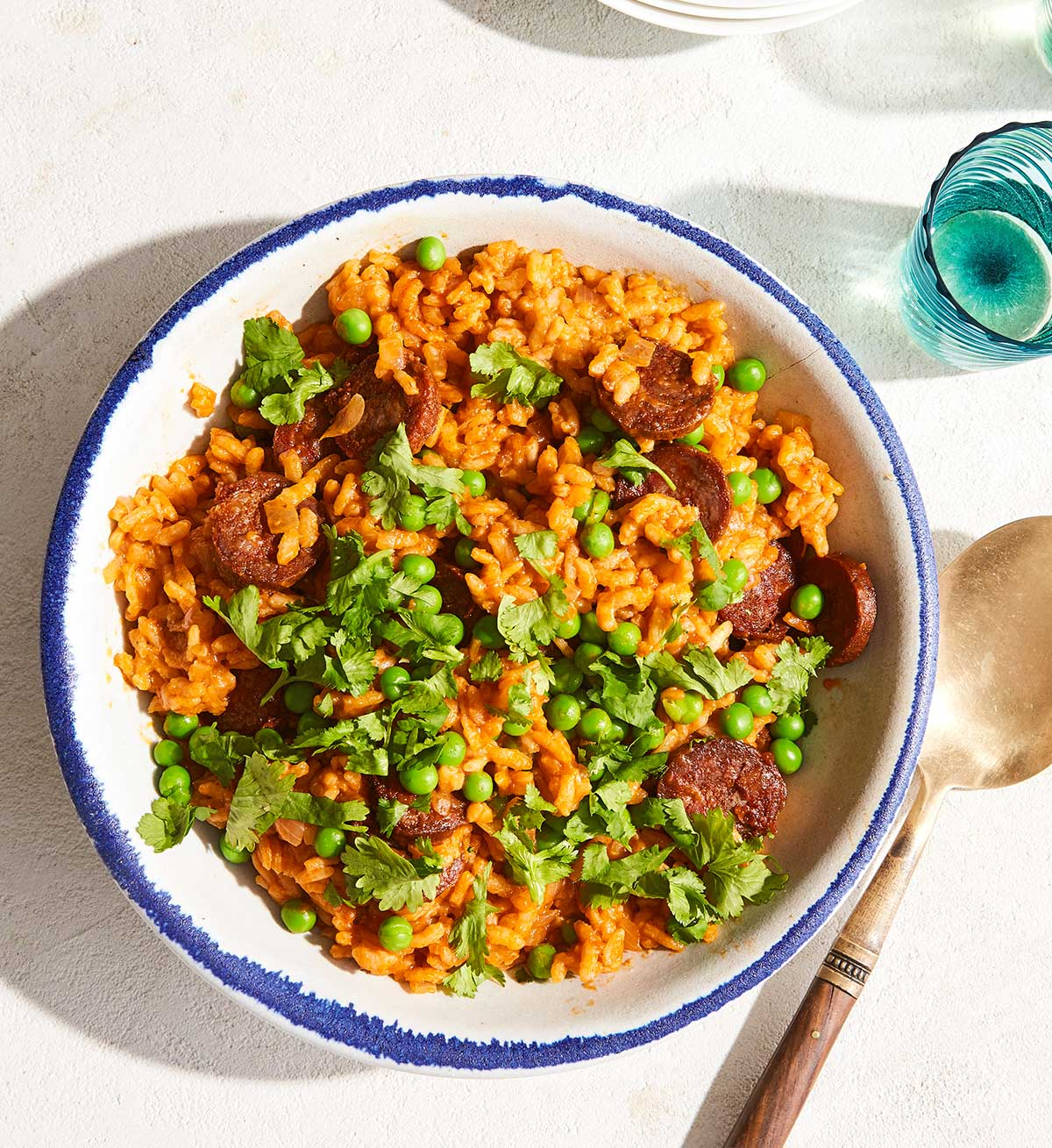 A bowl of paella-inspired risotto